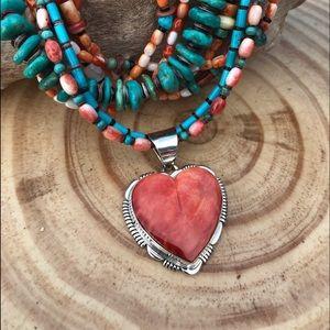 Jewelry - Navajo SterlingSilver Orange Spiny Oyster Pendant